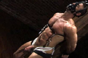 Muscular men in bondage